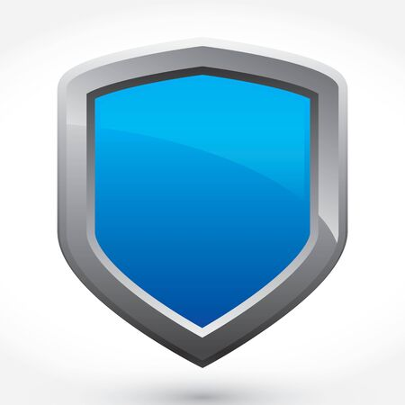 A blank blue colored shield art element with copy space for your text or design.