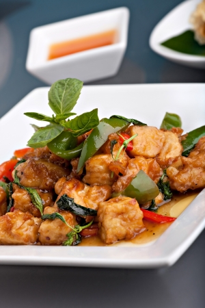 Fresh Thai food stir fry with stir fried tofu and basil garnish. Stock Photo