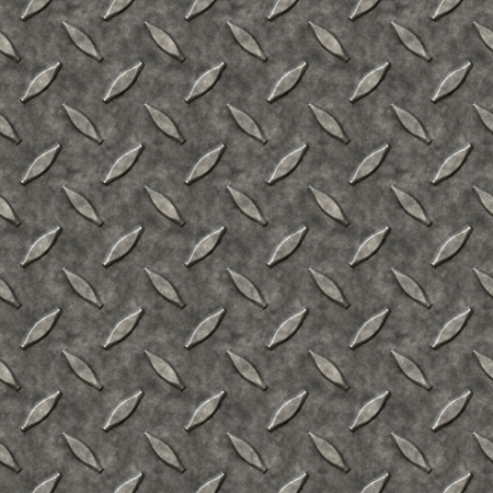 tileable: A diamond plate bumped metal texture that tiles seamlessly as a pattern in any direction. Stock Photo