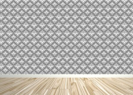 flooring: An empty room interior backdrop with wood parquet flooring and a damask style wallpaper pattern.