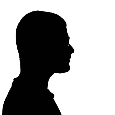 man face profile: Side profile illustration in black of a young man wearing eyeglasses isolated over a white background.