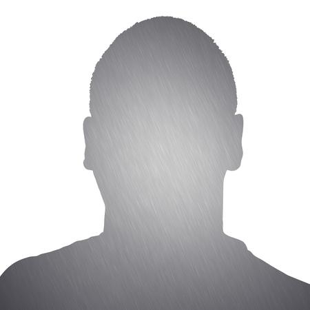 흰색 배경 위에 절연 알루미늄 질감을 가진 젊은 남자의 그림.