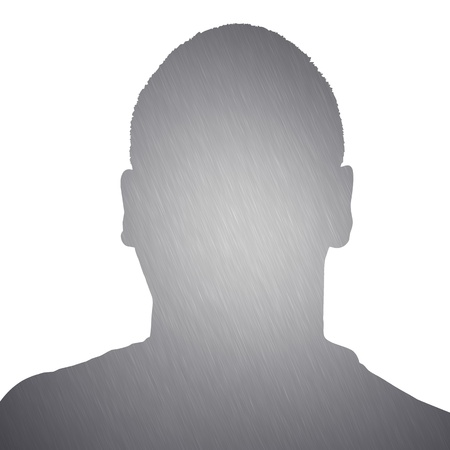 avatar: Illustration of a young man with brushed aluminum texture isolated over a white background. Stock Photo