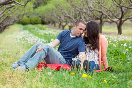 picnic blanket: Young happy couple enjoying each others company outdoors on a picnic blanket in the middle of an apple orchard.