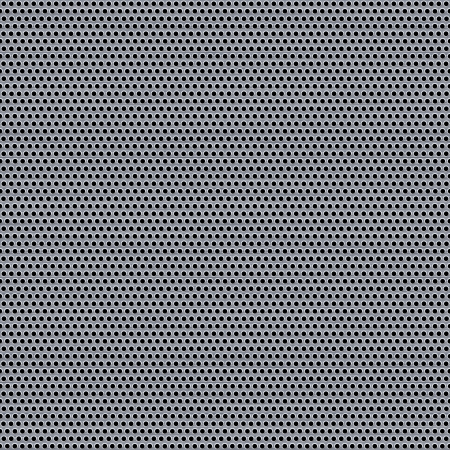 holes: A metal grill texture with circular holes.