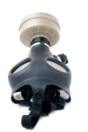 An old worn gas mask with black rubber isolated over white. Stock Photo - 20209249