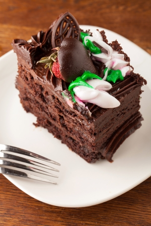decadent: Decadent slice of chocolate cake on a plate with a fork.