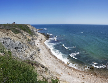 View of the Mohegan Bluffs section of Block Island located in the state of Rhode Island USA. 스톡 콘텐츠
