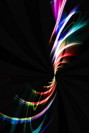 the energy center: Abstract spiraling rainbow fractal design isolated over a black background.