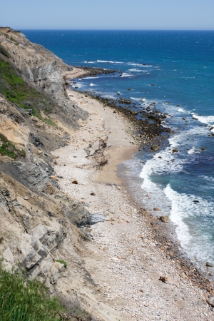 ri: View of the Mohegan Bluffs section of Block Island located in the state of Rhode Island USA. Stock Photo