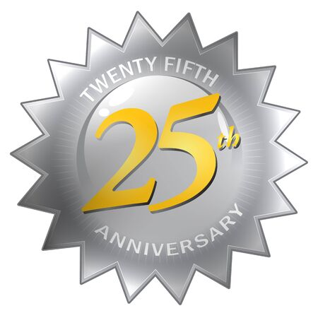 A silver twenty fifth 25th anniversary seal isolated over a white background.   photo