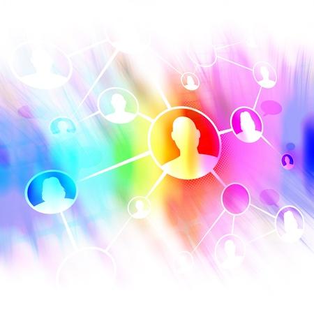 別の男性と女性が一緒に社会的なメディアやソーシャルネットワー キングを介して接続のフローチャート図。 口伝えの紹介マーケティングまたは概