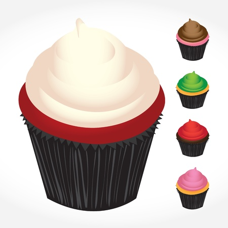 frosting: Set of gourmet bakery cupcakes in various flavors. format makes these fully customizable. Illustration