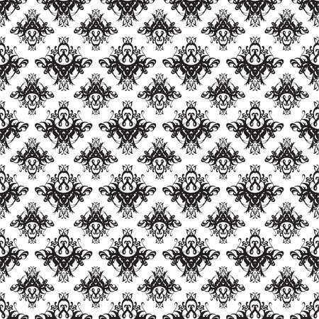 Illustration of a seamless damask pattern or texture in black and white.  Illustration