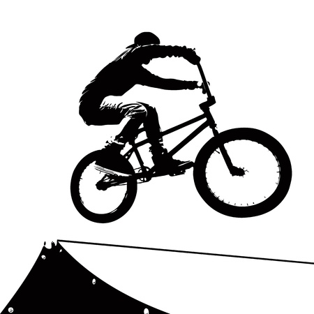 High contrast silhouette of an extreme sports bike rider doing a transfer on a ramp at the skate park. Vector