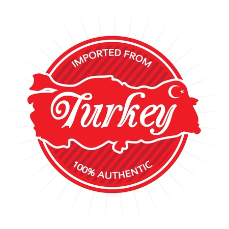 Illustrated label or badge that reads Imported from Turkey 100 percent authentic. Includes the general rough outline shape of the country borders. Vector