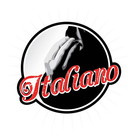 Italians talk with their hands as depicted in this Italian label or icon design. Vector