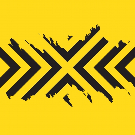 Worn black chevron style stripes over a yellow background. Ilustrace