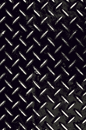 Rough and textured high contrast diamond plate background in black and white. photo