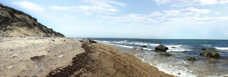 pano: View of the dunes and coast Block Island located in the state of Rhode Island USA. Stock Photo