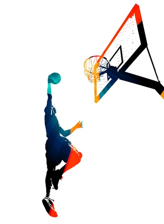High contrast silhouette illustration of an athlete slam dunking a basketball. Standard-Bild