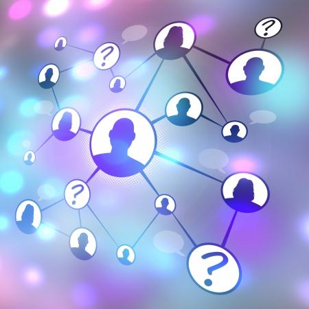 別の男性と女性が一緒に社会的なメディアやソーシャルネットワー キングを介して接続のフローチャート図。口伝えの紹介マーケティングまたは概 写真素材
