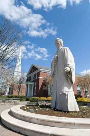Public statue of Noah Webster located in the center of West Hartford Connecticut writer of Websters dictionary. photo