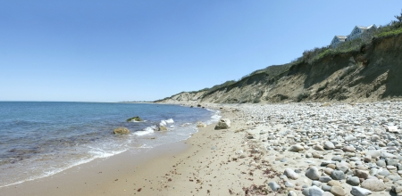 coastal erosion: View of the dunes and coast Block Island located in the state of Rhode Island USA. Stock Photo