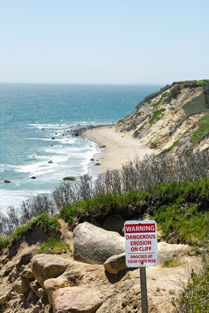 coastal erosion: View of the Mohegan Bluffs section of Block Island located in the state of Rhode Island USA. Stock Photo