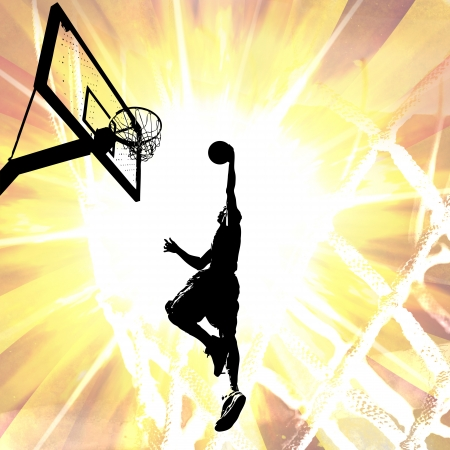 Silhouette illustration of an athlete slam dunking a basketball over a fiery background. illustration