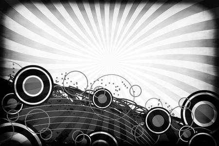 radiating: Un layout grafico con gli ambienti e gli elementi di arte retr� su una sgangherata irradia raggi sfondo in bianco e nero.