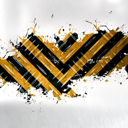A hazard stripes background with grungy splatter and diamond plate textures isolated over white.