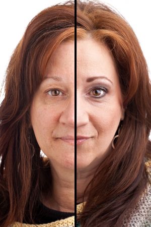 Voor en na make-up op een middelbare leeftijd Italiaans Duits brunette vrouw. Stockfoto