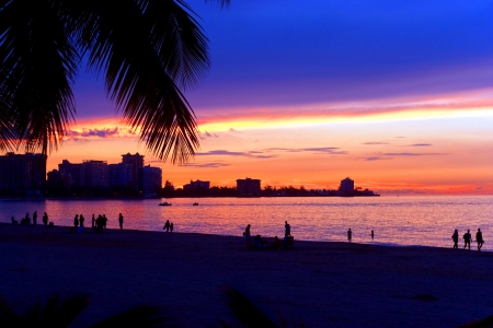 rico: A beautiful sunset in the Isla Verde section of San Juan Puerto Rico.