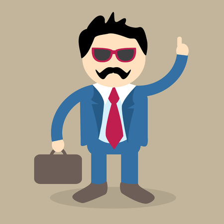 business man vector: A stylish business man or employee pointing upwards in vector format.