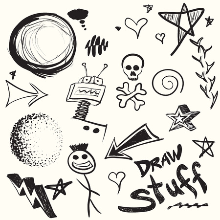 Collection of doodles and drawings in vector format with a variety of elements. photo
