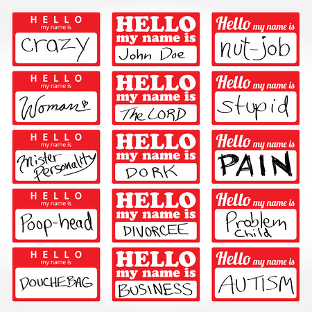 nametag: An assortment of Hello my name is temporary sticker lapel badges that are editable in vector format.