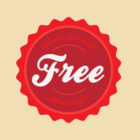 free button: Vintage style vector badge that reads Free Special Offer Limited Time Only