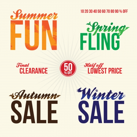 spring sale: Promotional sale elements for signage or web advertising. Stock Photo