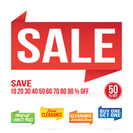 Sale sign graphics isolated on white in vector format.