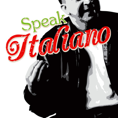 italia: Italians talk with their hands as depicted in this Italian guy illustration with typography.