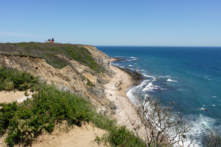 View of the Mohegan Bluffs section of Block Island located in the state of Rhode Island USA. photo