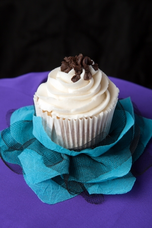 fancy cake: Close up of a decadent gourmet cupcake with chocolate and vanilla frosting.  Stock Photo