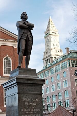 samuel: Public statue of Samuel Adams in Boston Massachusetts near Quincy Market.