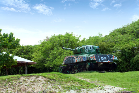 beached: An old tank beached on the Puerto Rican island of Culebra.