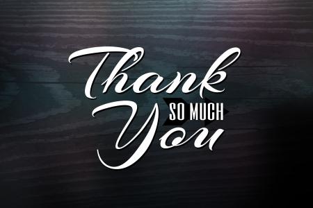 Dank u wenskaart ontwerp met witte tekst over een woodgrain geweven achtergrond.