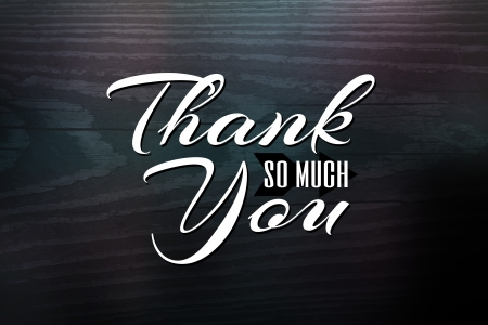 thank you: Thank you greeting card design with white text over a woodgrain textured background. Stock Photo