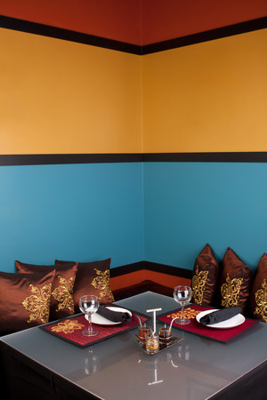 decor: Oriental or Asian style table setting and interior decor.