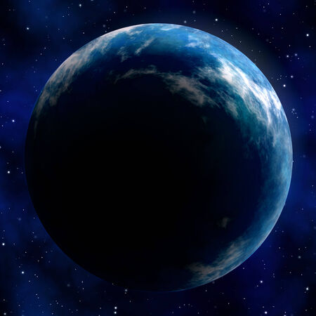 earth from space: Illustration of the great blue planet earth seen in outer space with stars in the background.