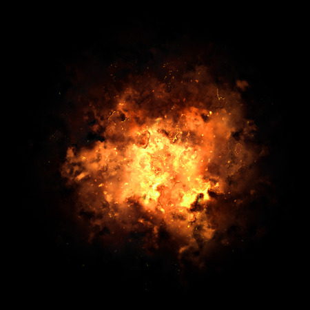 bomb explosion: Realistic fiery explosion busting over a black background.